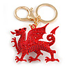 Red Crystal, Red Enamel Dragon Keyring/ Bag Charm In Gold Tone Metal - 9cm L