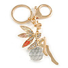 Clear Crystal Pink/ White Enamel Fairy With Glass Ball Keyring/ Bag Charm In Gold Tone Metal - 9cm L