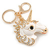 AB Crystal, White Enamel Glitter Unicorn Keyring/ Bag Charm In Gold Tone Metal - 10cm L