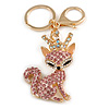 Pink/ Ab Crystal Queen Fox Keyring/ Bag Charm In Gold Plating - 10cm L