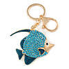Azure Blue Crystal, Teal Enamel Fish Keyring/ Bag Charm In Gold Tone Metal - 11cm L