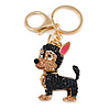 Dark Blue/ Orange Crystal Puppy of Sheep Dog Keyring/ Bag Charm In Gold Tone - 8cm L