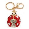 Red/ Ab Crystal Ladybug Keyring/ Bag Charm In Gold Tone Metal - 8cm L