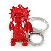 Red Crystal, Red Enamel Baby Dragon Keyring/ Bag Charm In Silver Tone Metal - 8cm L
