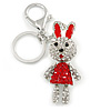 Clear/ Red Crystal Happy Easter Bunny Keyring/ Bag Charm In Silver Tone Metal - 10cm L