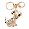 Clear Crystal, Black/ White Enamel Spotty Dog Keyring/ Bag Charm In Gold Tone - 12cm L