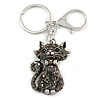 Hematite Crystal Kitty Keyring/ Bag Charm In Silver Tone - 11cm L