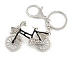 Clear Crystal Black Enamel Bicycle Charm In Gold Tone Metal - 12cm L