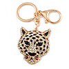 Statement Crystal Tiger Keyring/ Bag Charm In Gold Tone - 11cm L