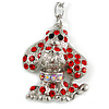 Silver Tone Red Crystal Puppy Charm Key Ring - 13cm Long