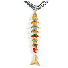 Rainbow Fish Cotton Cord Pendant Necklace (Gold Tone)