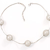 Silver Mesh Imitation Pearl Costume Necklace
