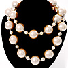 Multi-Sized Lustrous Imitation Pearl Necklace