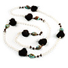 Vintage Long Bead and Fur Necklace