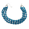 Teal Plastic Bead Multistrand Necklace