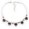 5 Purple Glittering Heart Necklace