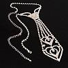 Austrian Crystal Heart  Necktie (Clear)