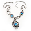 Antique Silver Vintage Hammered Drop Necklace (Sky Blue)