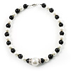 Black & White Imitation Pearl Necklace - 38cm L