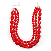 Multi Strand Red Plastic Faceted Bead Necklace