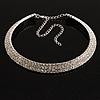 Austrian Crystal Choker Necklace (Silver&Clear)