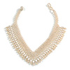 Bridal Imitation Pearl Charm V-Choker Necklace (Light Cream)
