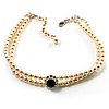 2 Strand Light Cream Imitation Pearl CZ Wedding Choker Necklace (With Jet-Black Central Stone)