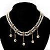 2 Strand Faux Pearl Bridal Diamante Choker Necklace (Silver Tone)