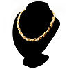 Statement Textured Choker Necklace (Gold Tone)