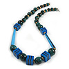 Long Chunky Teal Blue Wooden Geometric Necklace - 70cm