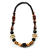 Chunky Geometric Wooden Bead Necklace (Black, Brown And Cream) - 68cm L