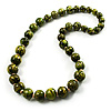 Animal Print Wooden Bead Necklace (Grass Green & Black) - 70cm L