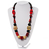 Chunky Geometric Wooden Bead Necklace (Black, Cream And Red) - 74cm L