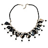 Black Shell Composite Charm Leather Style Necklace (Silver Tone)