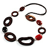 Wood Link & Glass Nugget Leather Style Necklace (Dark Brown, Dark Orange & Black) - 70cm L