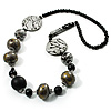 Stylish Animal Print Wooden Bead Necklace (Grey & Black) - 70cm L