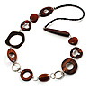 Wood & Silver Tone Metal Link Leather Style Long Necklace (Dark Brown & Black) -76cm L