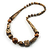 Animal Print Chunky Wood Bead Long Necklace (Cream, Black & Antique Silver) - 68cm L