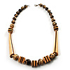 Long Chunky Wooden Geometric Necklace (Brown & Beige) - 60cm Length