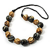 Chunky Wood Bead Cotton Cord Necklace (Light Brown & Black) - 68cm Length
