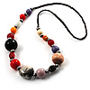 Long Resin & Ceramic Bead Cotton Cord Necklace (Multicoloured) - 70cm L