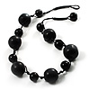 Chunky Black Ceramic & Resin Bead Cotton Cord Necklace - 52cm L