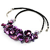 Purple Shell-Composite Leather Cord Necklace