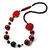 Stylish Animal Print Wooden Bead Necklace (Black & Red) - 80cm Long