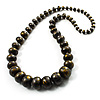 Long Graduated Wooden Bead Colour Fusion Necklace (Black& Golden) - 74cm L