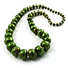 Long Graduated Wooden Bead Colour Fusion Necklace (Green & Black)