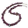 Purple Bead & Shell Long Necklace (Burn Silver Tone)