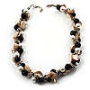 Exquisite Faux Pearl & Shell Composite Silver Tone Link Necklace (Antique White & Black)