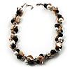 Exquisite Faux Pearl & Shell Composite Silver Tone Link Necklace (Antique White & Black)