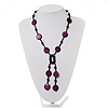 Glass & Shell Bead Tassel Necklace (Purple & Black)